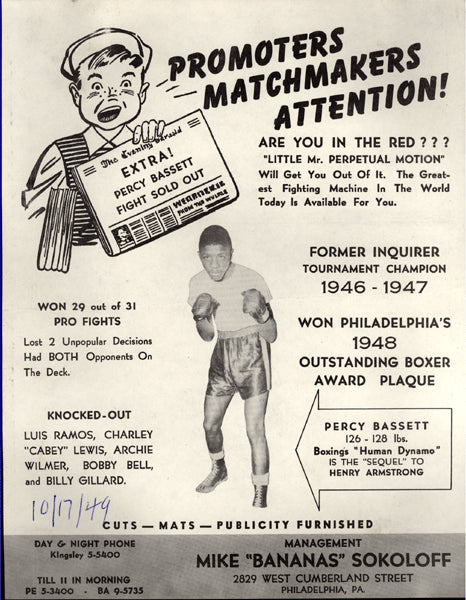 BASSETT, PERCY PROMOTIONAL BROADSIDE (1949)