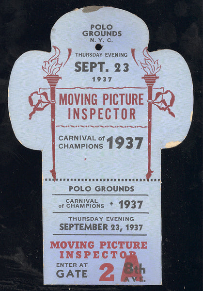 CARNIVAL OF CHAMPION MOVING PICTURE INSPECTOR PASS (1937-AMBERS, ROSS, GARCIA)