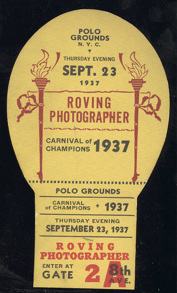 CARNIVAL OF CHAMPIONS ROVING PHOTOGRAPHER PASS (1937-AMBERS, ROSS, GARCIA)