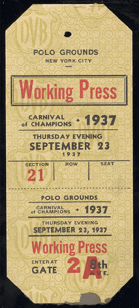 CARNIVAL OF CHAMPIONS WORKING PRESS PASS (1937-AMBERS, ROSS, GARCIA)