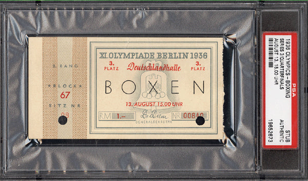 1936 OLYMPIC BOXING STUBLESS TICKET (PSA/DNA)