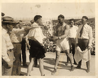 DEMPSEY, JACK-TOMMY GIBBONS ORIGINAL ANTIQUE PHOTO (1923-JUST BEFORE FIGHT BEGAN)