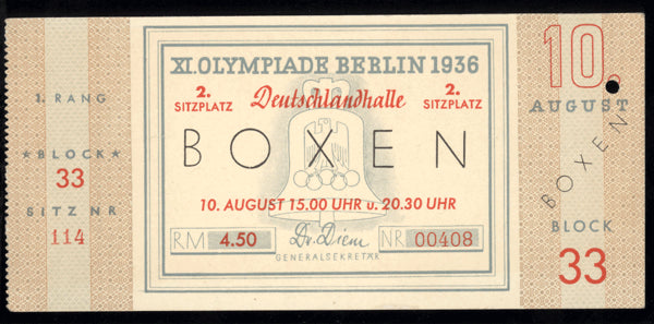 1936 OLYMPIC BOXING FULL TICKET