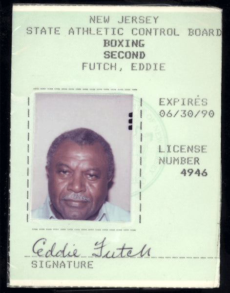 FUTCH, EDDIE SIGNED ORIGINAL BOXING LICENSE (1990)