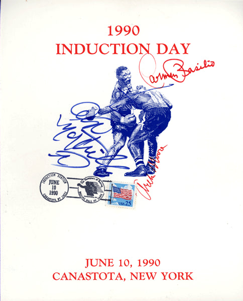 1990 BOXING HALL OF FAME SIGNED CARD (BASILIO, MOORE, NAPOLES)
