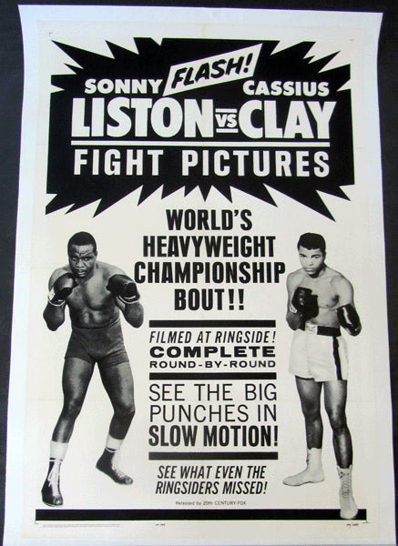CLAY, CASSIUS-SONNY LISTON I FIGHT FILM POSTER (1964)