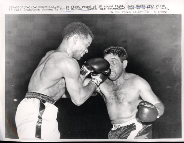 MACHEN, EDDIE-JOEY MAXIM II WIRE PHOTO (1957-1ST ROUND)