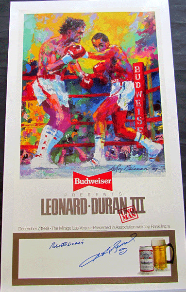 LEONARD, SUGAR RAY-ROBERTO DURAN III ORIGINAL POSTER (1989-SIGNED BY BOTH)