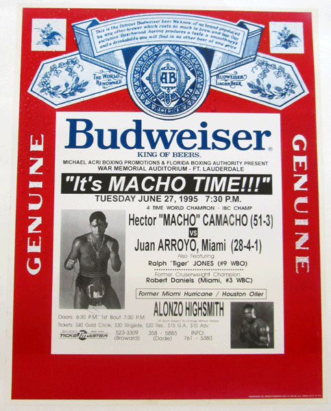 "CAMACHO, HECTOR ""MACHO""-JUAN ARROYO ON SITE POSTER (1995-SIGNED BY CAMACHO)"