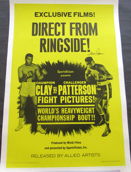 ALI, MUHAMMAD-FLOYD PATTERSON I ORIGINAL FIGHT FILM POSTER (SIGNED BY PATTERSON-1965)
