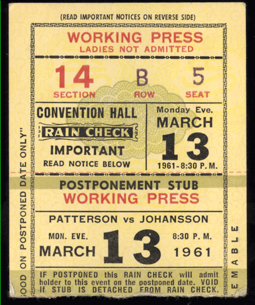 PATTERSON, FLOYD-INGEMAR JOHANSSON III ON SITE TICKET STUB (1961)