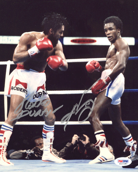 DURAN, ROBERTO & SUGAR RAY LEONARD I SIGNED PHOTO (PSA/DNA)