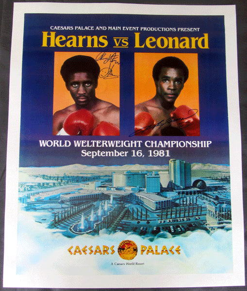 "LEONARD, SUGAR RAY-THOMAS ""HITMAN"" HEARNS ON SITE POSTER (1981-SIGNED BY BOTH)"