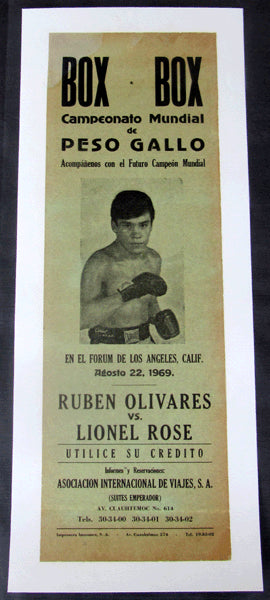 OLIVARES, RUBEN-LIONEL ROSE ORIGINAL ON SITE POSTER (1969)