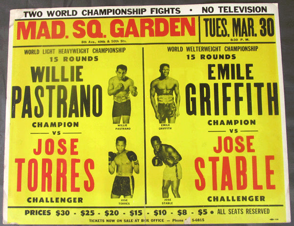 GRIFFITH, EMILE-JOSE STABLE & PASTRANO-TORESS ON SITE POSTER (1965)