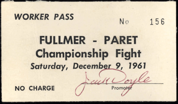 "FULLMER, GENE-BENNY ""KID"" PARET WORKER'S PASS (1961)"