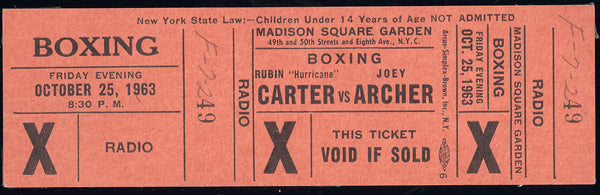 "CARTER, RUBIN ""HURRICANE""-JOEY ARCHER FULL TICKET (1963)"
