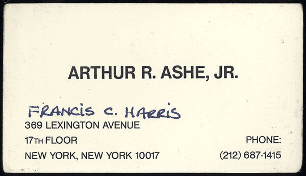 ASHE, JR., ARTHUR R. BUSINESS CARD