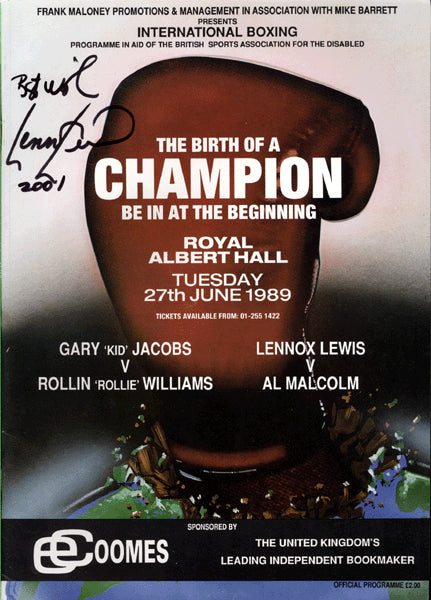 LEWIS, LENNOX-AL MALCOLM OFFICIAL PROGRAM (1989-SIGNED BY LEWIS-LEWIS PRO DEBUT)