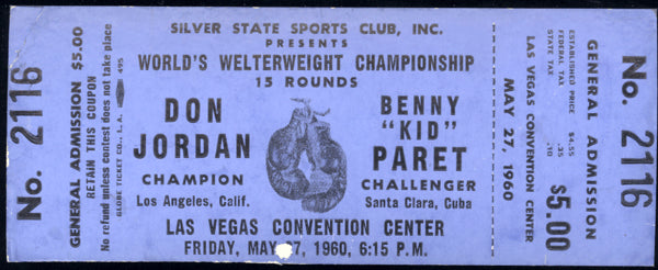 "PARET, BENNY ""KID""-DON JORDAN FULL TICKET (1960-PARET WINS TITLE)"
