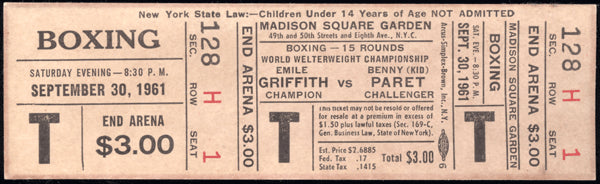 "GRIFFITH, EMILE-BENNY ""KID"" PARET FULL TICKET (1961-PARET WINS TITLE)"