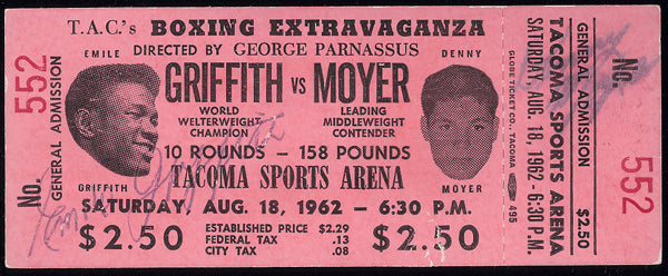 GRIFFITH, EMILE-DENNY MOYER FULL TICKET (1962-Signed BY BOTH FIGHTERS)