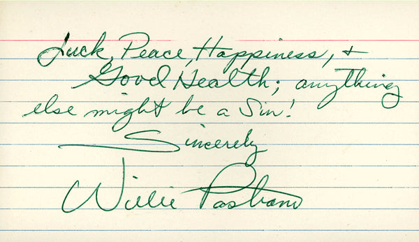PASTRANO, WILLIE SIGNED INDEX CARD