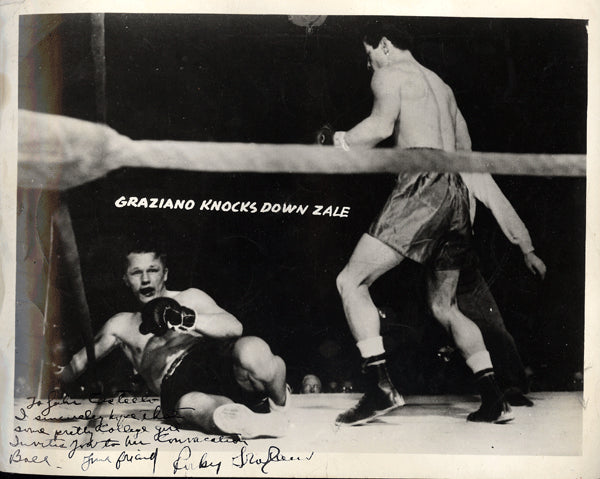 GRAZIANO, ROCKY SIGNED ACTION PHOTO (ZALE FIGHT)