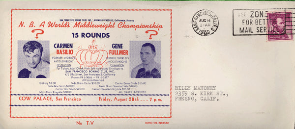 BASILIO, CARMEN-GENE FULLMER FIGHT ENVELOPE (1959)