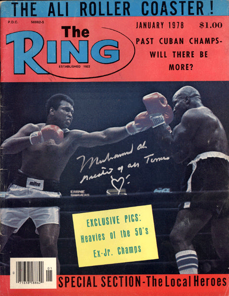 ALI, MUHAMMAD SIGNED RING MAGAZINE (PSA/DNA AUCTION LETTER)