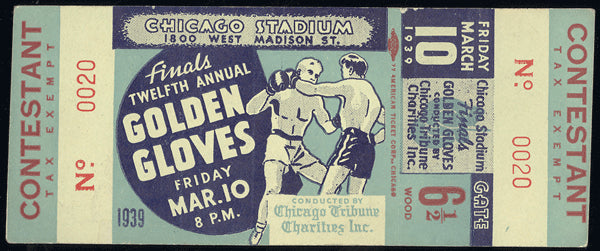 CHARLES, EZZARD GOLDEN GLOVES FULL TICKET (1939-ALSO JIMMY BIVINS)