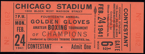 DADE, HAROLD GOLDEN GLOVES FULL TICKET (1941)