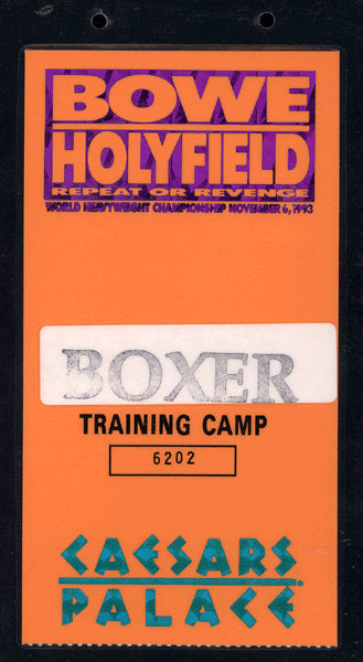 BOWE, RIDDICK-EVANDER HOLYFIELD II TRAINING CAMP CREDENTIAL (EDDIE FUTCH COLLECTION-1993)