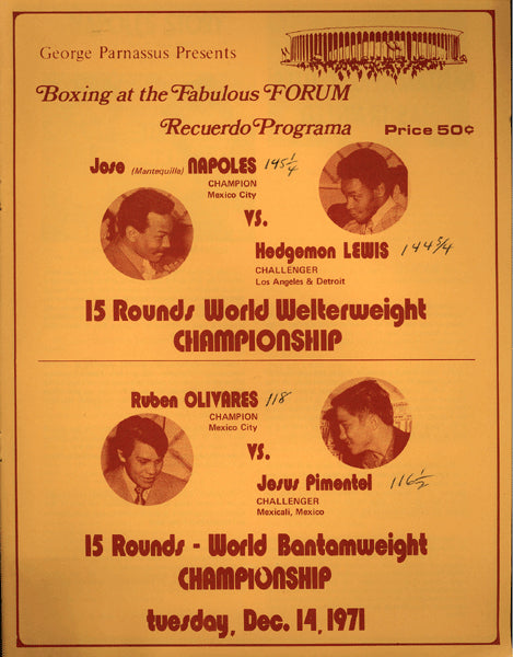 NAPOLES, JOSE-HEDGEMON LEWIS & RUBEN OLIVARES-JESUS PIMENTEL OFFICIAL PROGRAM (1971)