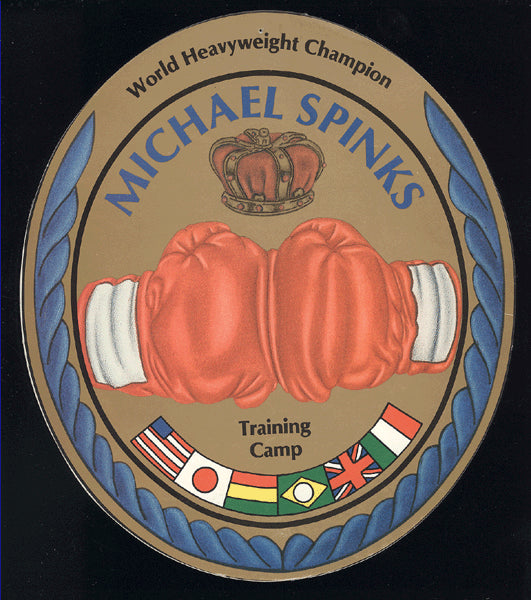 SPINKS, MICHAEL TRAINING CAMP STICKER (AS WORLD HEAVYWEIGHT CHAMPION)