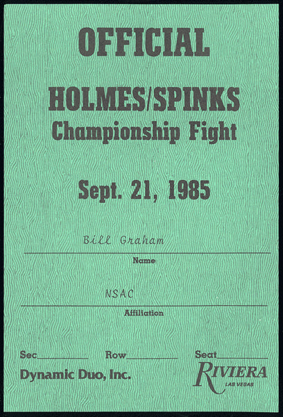 HOLMES, LARRY-MICHAEL SPINKS I OFFICIAL'S CREDENTIAL (1985)