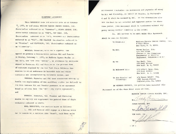 ALI, MUHAMMAD-JOE FRAZIER II FIGHTER AGREEMENT CONTRACT (1974-SIGNED BY ARUM & BRENNER)