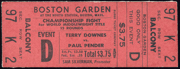 DOWNES, TERRY-PAUL PENDER II FULL TICKET (1962-PENDER WINS TITLE)
