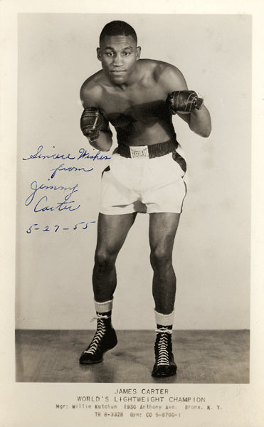 CARTER, JAMES VINTAGE SIGNED PHOTO (1955-AS CHAMPION)