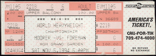 FOREMAN, GEORGE-MICHAEL MOORER FULL TICKET (1994-FOREMAN WINS TITLE)