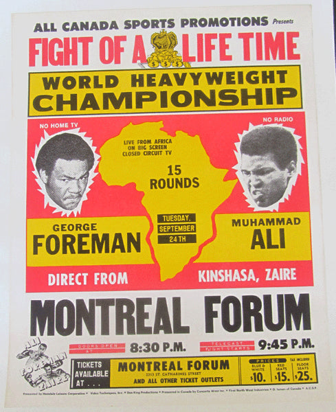 ALI, MUHAMMAD-GEORGE FOREMAN ORIGINAL CLOSED CIRCUIT POSTER (1974)