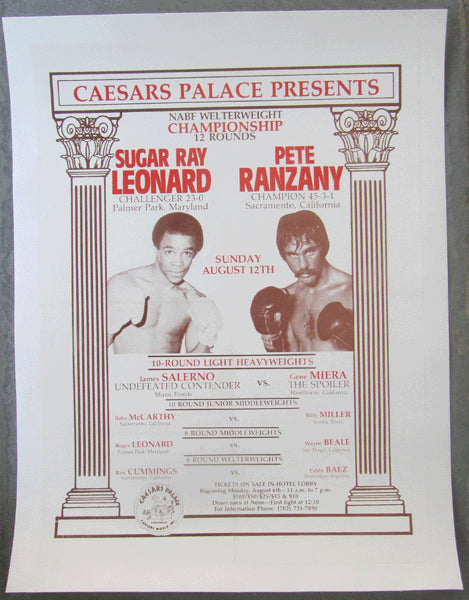 LEONARD, SUGAR RAY-PETE RANZANY ON SITE POSTER (1979)