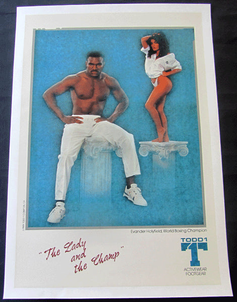 HOLYFIELD, EVANDER THE LADY AND THE CHAMP ADVERTISING POSTER (1989)