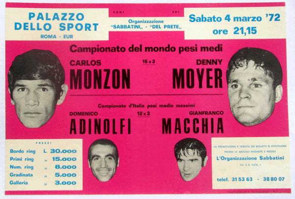 MONZON, CARLOS-DENNY MOYER ON SITE POSTER (1972)