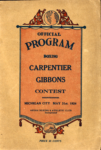 CARPENTIER, GEORGES-TOMMY GIBBONS OFFICIAL PROGRAM (1924)
