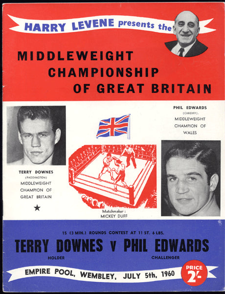 DOWNES, TERRY-PHIL EDWARDS OFFICIAL PROGRAM (1960-DOWNES WINS BRITISH TITLE)