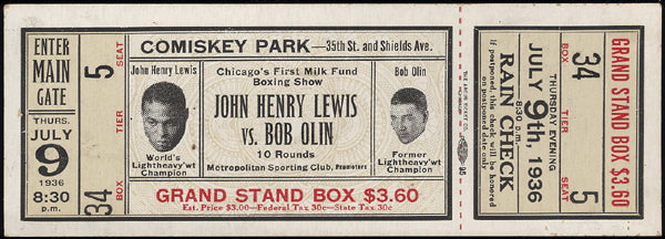 LEWIS, JOHN HENRY-BOB OLIN FULL TICKET (1936)