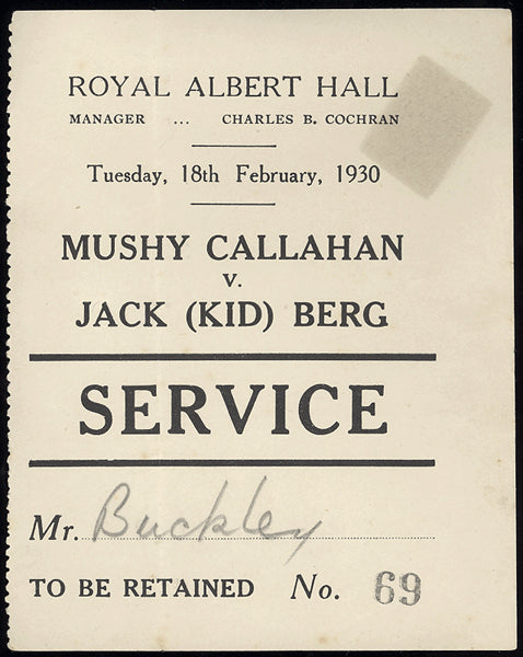 "CALLAHAN, MUSHY-JACKIE ""KID"" BERG SERVICE PASS (1930)"