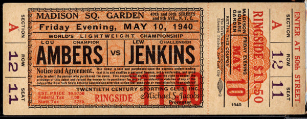 AMBERS, LOU-LEW JENKINS FULL TICKET (1940-JENKINS WINS TITLE)