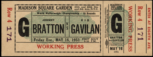 GAVILAN, KID-JOHNNY BRATTON FULL TICKET (1951-GAVILAN WINS TITLE)